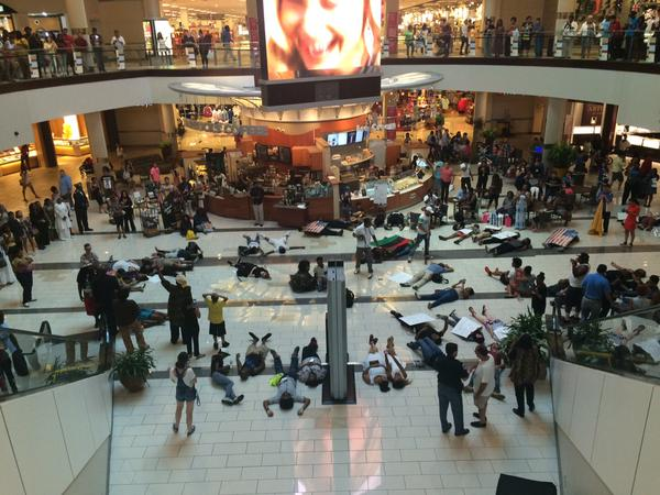 Protestors demonstrate at mall