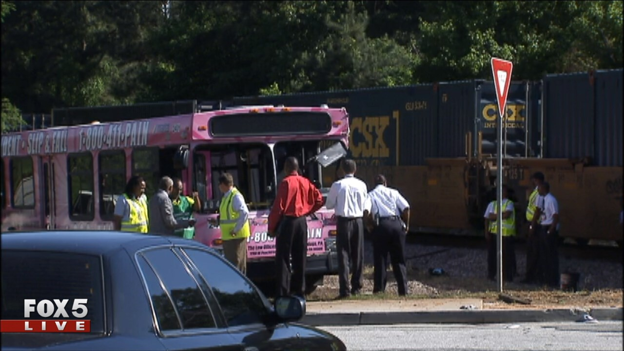 5 injured after train strikes MARTA bus
