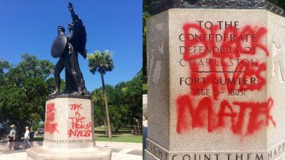 Protesters Paint 'Black Lives Matter' on Confederate Statue