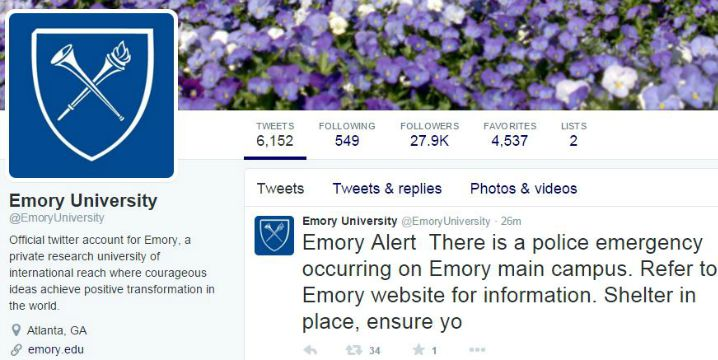 Police emergency on Emory University's main campus