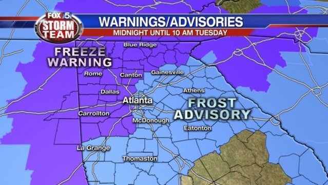 Frost, freeze expected in Atlanta, north Ga. tonight