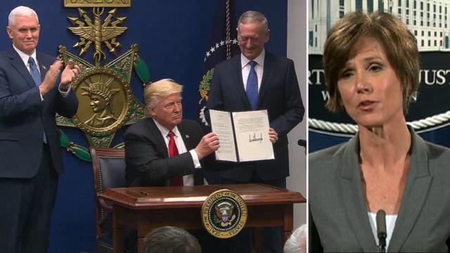 Trump fires Justice Dept. head over executive order defiance