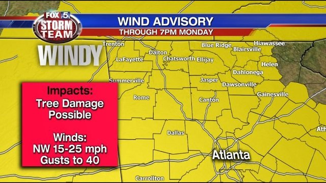 Wind advisory issued for North Georgia; potential for falling trees